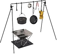 ZDAMN Camping Cooking Tripod Grill Swing Campfire