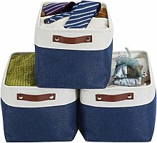 ZDD Folding Linen Fabric Storage Basket Clothes