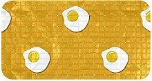 ZDL Fried Egg Pattern Yellow BackgroundBath mat.