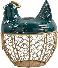 ZDNB Wire Egg Storage Basket with Ceramic Chicken