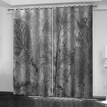 ZDPLL 3D Blackout Curtains Black leaves Eyelet