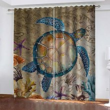 ZDPLL 3D Blackout Curtains Sea turtle Eyelet