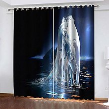 ZDPLL 3D Blackout Curtains Starry sky animal horse