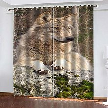 ZDPLL Blackout Curtains 3D Animal wolf Polyester
