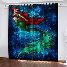ZDPLL Blackout Curtains 3D Blue mermaid Polyester