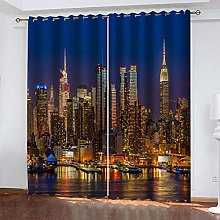 ZDPLL Blackout Curtains 3D City night Polyester