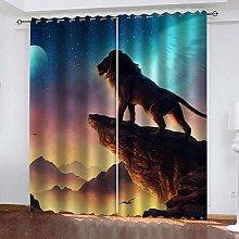 ZDPLL Blackout Curtains 3D Color starry sky & lion