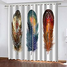 ZDPLL Blackout Curtains 3D Colored feathers