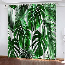 ZDPLL Blackout Curtains 3D Green leaves Thermal