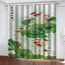 ZDPLL Blackout Curtains 3D Green lotus leaf