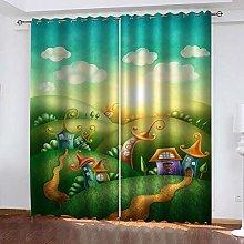 ZDPLL Blackout Curtains 3D Green Villa Thermal