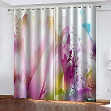 ZDPLL Blackout Curtains 3D Purple flower Polyester