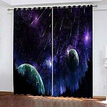 ZDPLL Blackout Curtains 3D Purple starry sky