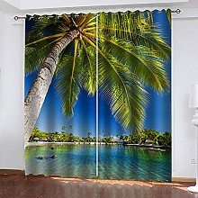ZDPLL Blackout Curtains 3D Sea view coconut tree