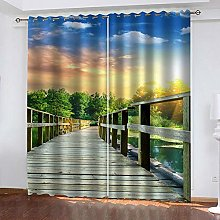 ZDPLL Blackout Curtains 3D Sunset forest Thermal