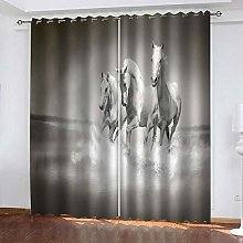 ZDPLL Blackout Curtains 3D White horse Polyester