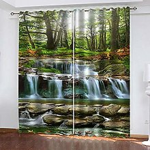 ZDPLL Curtain Blackout Green Forest & Waterfall 3D