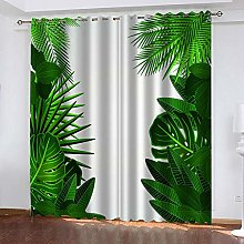 ZDPLL Curtain Blackout Green leaves 3D Print Super