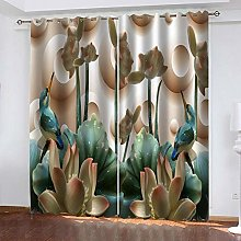 ZDPLL Eyelet Curtains For Living Room 3D Lotus 2