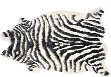Zebra Print Area Rug Black Decor Faux Fur Living
