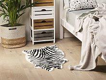 Zebra Print Rug Black Faux Fur Living Room Bedroom