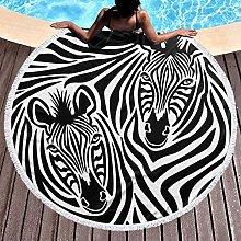 Zebra Printed Round Beach Towel Yoga Picnic Mat