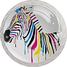 Zebra with Colored Stripes, 4 Pack Cabinet Drawe
