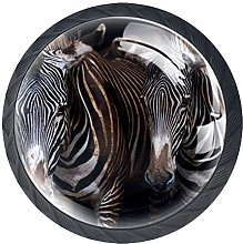 Zebras Crystal Glass Round Cabinet knob with