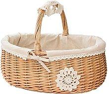 zebroau Natural Wicker Picnic Basket Shopping