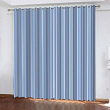 ZEEKYLY Blackout Curtains Blue and white stripes