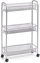 Zeller Shelf Trolley, Silver, 3-Ebenen