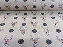 Zen Deer Stag Linen Fun designer Curtain/Craft