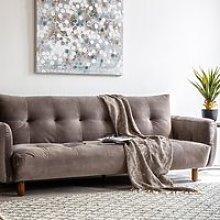 Zenko Contemporary Fabric Sofa In Titanium Velvet