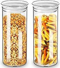 ZENS Glass Storage Jars, Airtight Clear Tall