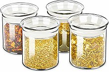 ZENS Small Glass Canister with Lid, Clear Airtight