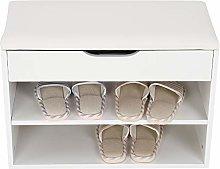 Zerone Shoe Bench, 2 Tiers Wooden Shoe Cabinet