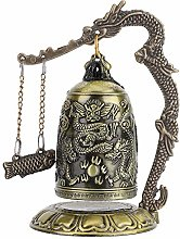 Zerone Vintage Small Carved Bronze Dragon Bell