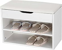 Zerone Wooden Shoes Cabinet, 2 Tiers White Shoe