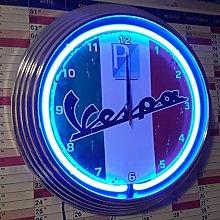 ZEROPOINT-SHOP NEON CLOCK NEONUHR VESPA-PIAGGIO