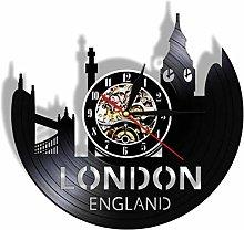 ZFANGY Vinyl wall clock UK city landscape vinyl