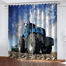 ZFSZSD 2 Panels Blackout Curtains Blue tractor