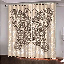 ZFSZSD Bedroom Blackout Panels Retro & Butterfly
