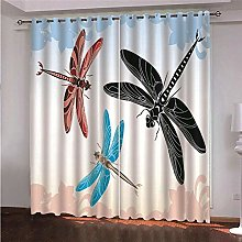 ZFSZSD Blackout Curtains Animals & dragonflies
