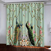 ZFSZSD Blackout Curtains Animals & Peacocks