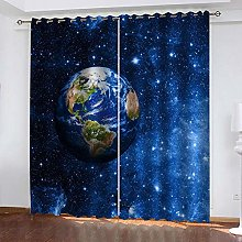 ZFSZSD Blackout Curtains Kids Room Blue planet For