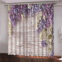 ZFSZSD Curtain for Girls Lavender & flowers Eyelet