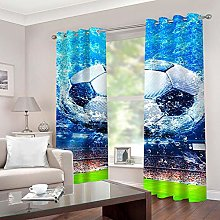 ZFSZSD Kids Blackout Curtains Blue & Football for