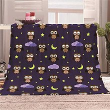 ZFSZSD Throw Blanket Cartoon owl Soft Flannel Baby