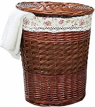 ZHANG Basket Linen Round Rattan With Lid In Cotton