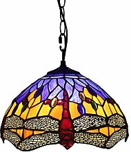 ZHANGDA Tiffany Style Hanging Lamp 12 inch Yellow
